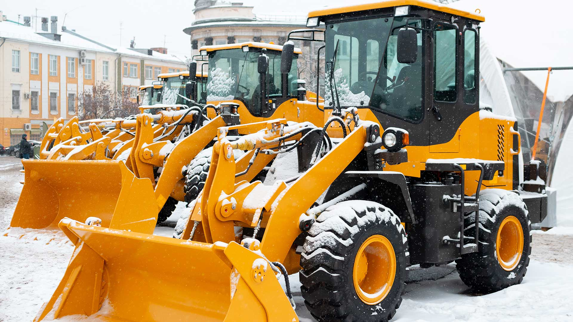 heavy equipment covered with snow
